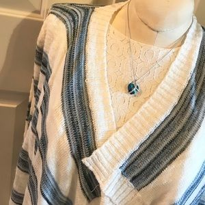 Blue and white striped draped waterfall cardigan!